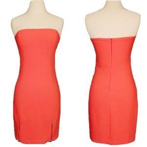 Zara Orange Strapless Zippers Bodycon Mini Dress M